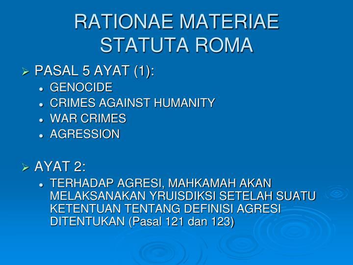 RATIONAE MATERIAE