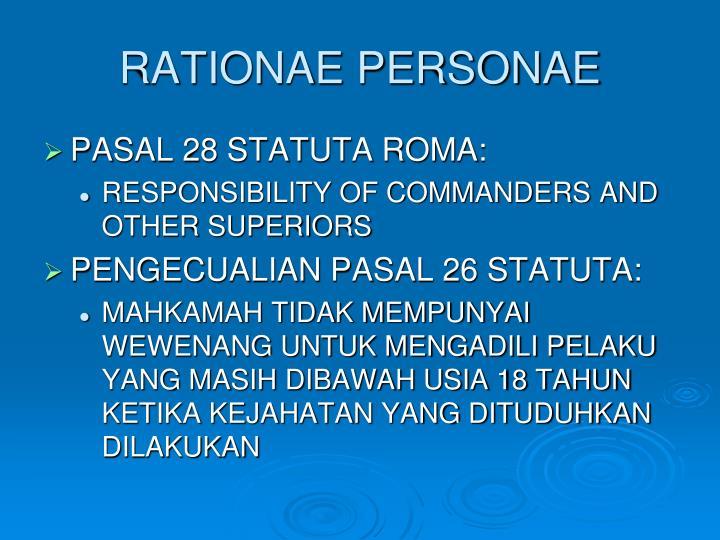 RATIONAE PERSONAE