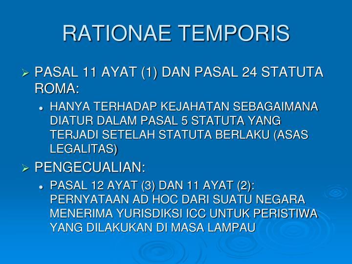 RATIONAE TEMPORIS