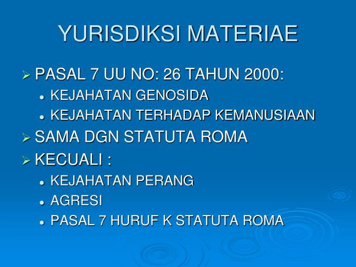 YURISDIKSI MATERIAE