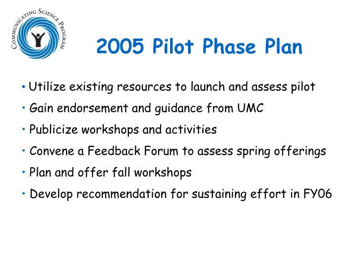 2005 Pilot Phase Plan