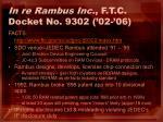 in re rambus inc f t c docket no 9302 02 06