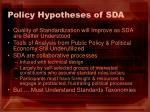 policy hypotheses of sda