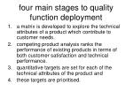 four main stages to quality function deployment