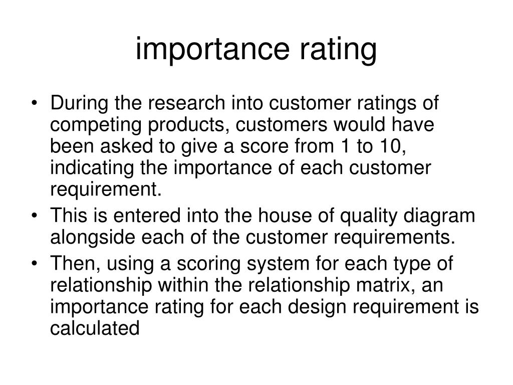 importance rating