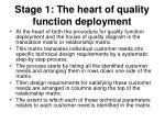 stage 1 the heart of quality function deployment