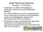 quilt technical summit philadelphia i2 fall meeting