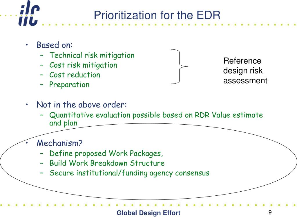 Prioritization for the EDR