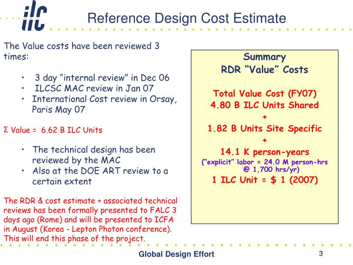 Reference design cost estimate