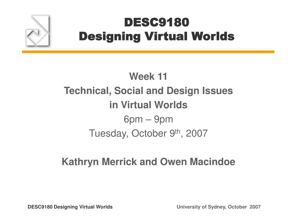 desc9180 designing virtual worlds l.