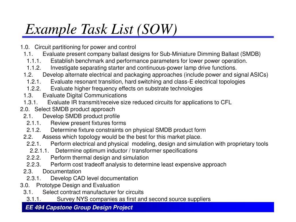 Example Task List (SOW)