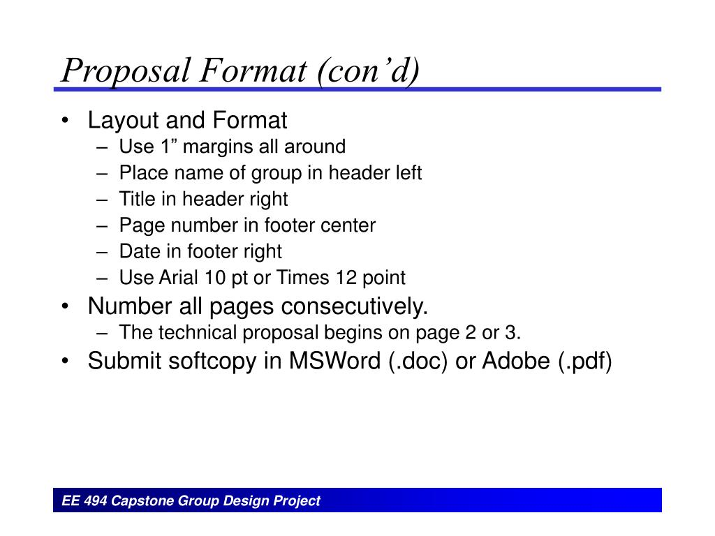 Proposal Format (con'd)
