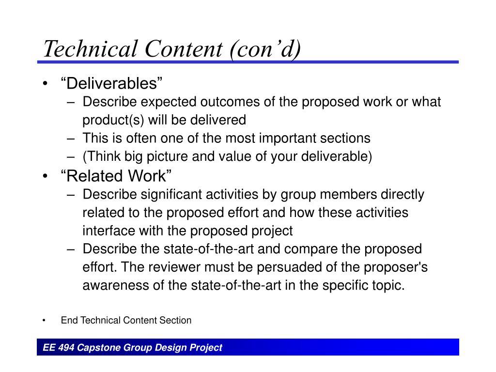 Technical Content (con'd)