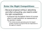enter the right competitions
