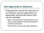 get approvals in advance
