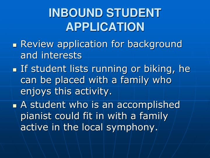 INBOUND STUDENT APPLICATION