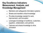 key excellence indicators measurement analysis and knowledge management1