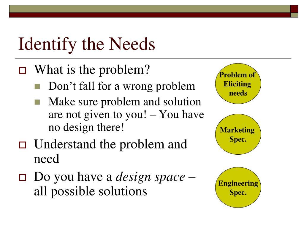 Identify the Needs