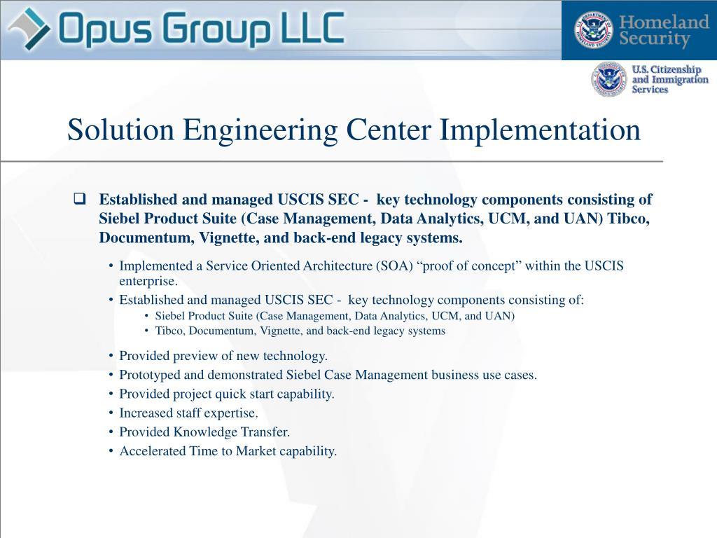 Solution Engineering Center Implementation