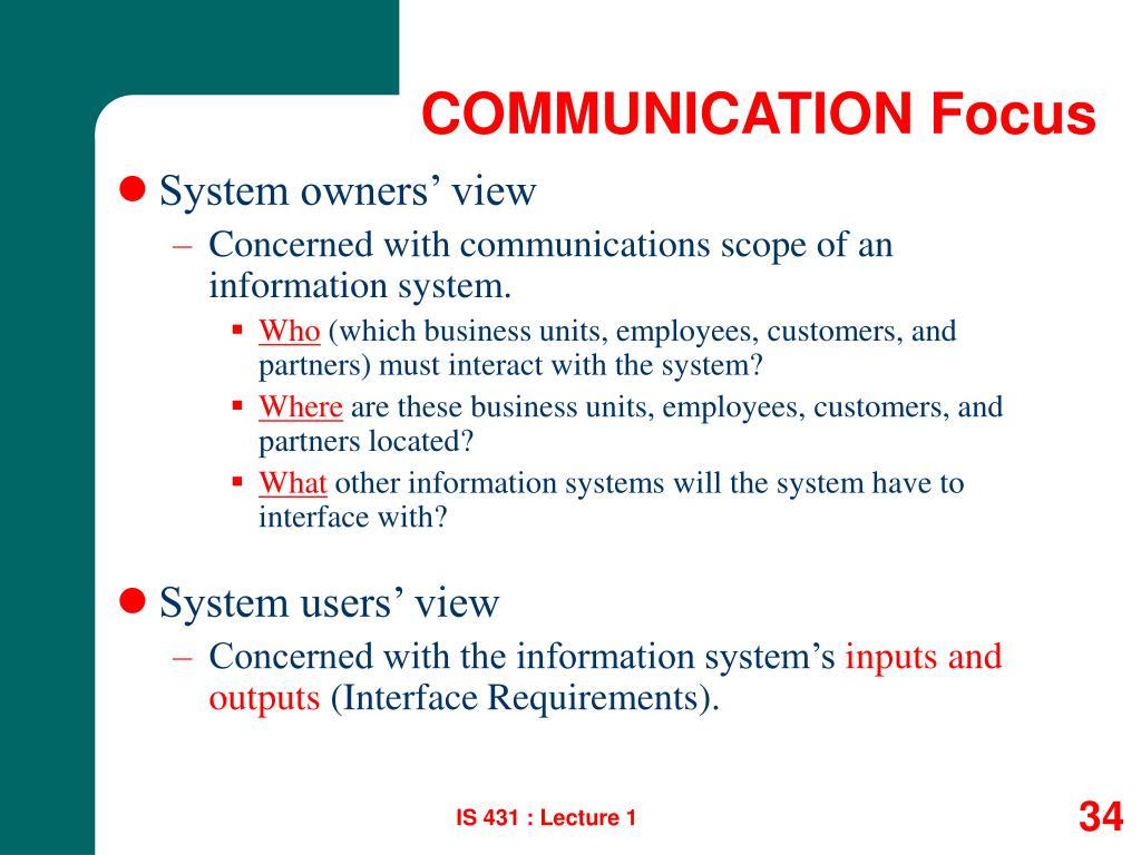 COMMUNICATION Focus