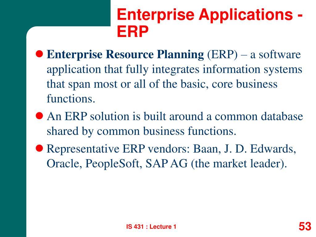 Enterprise Applications - ERP