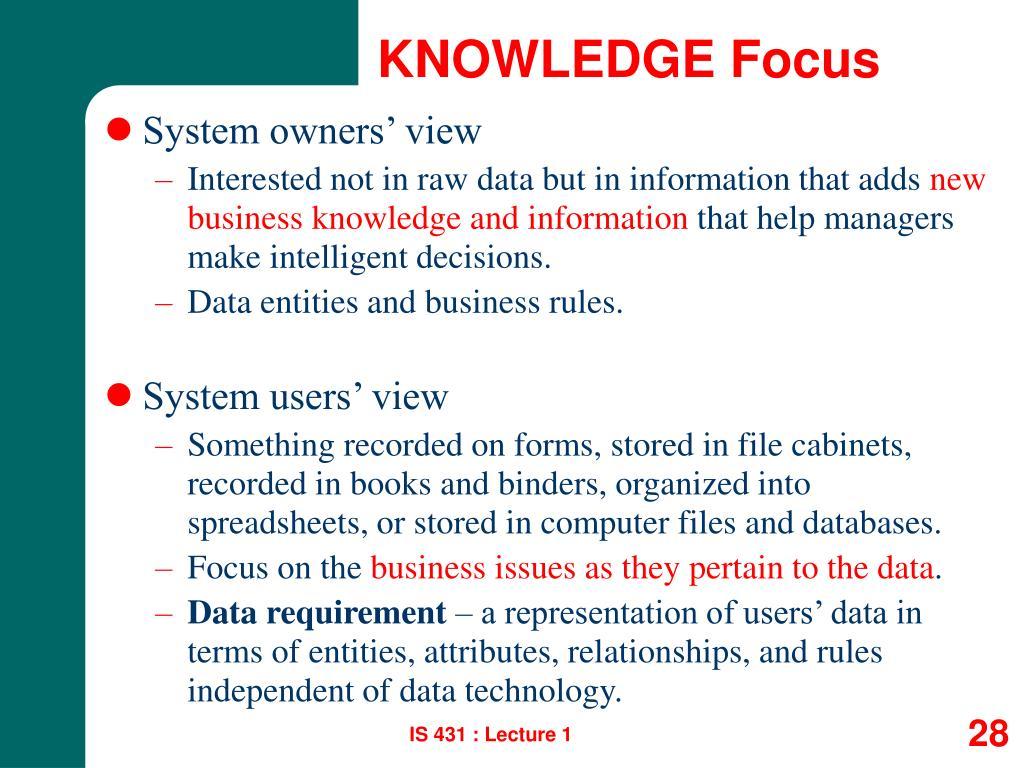 KNOWLEDGE Focus