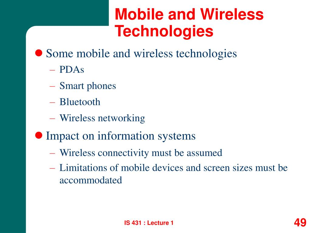 Mobile and Wireless Technologies