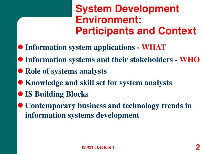 System development environment participants and context
