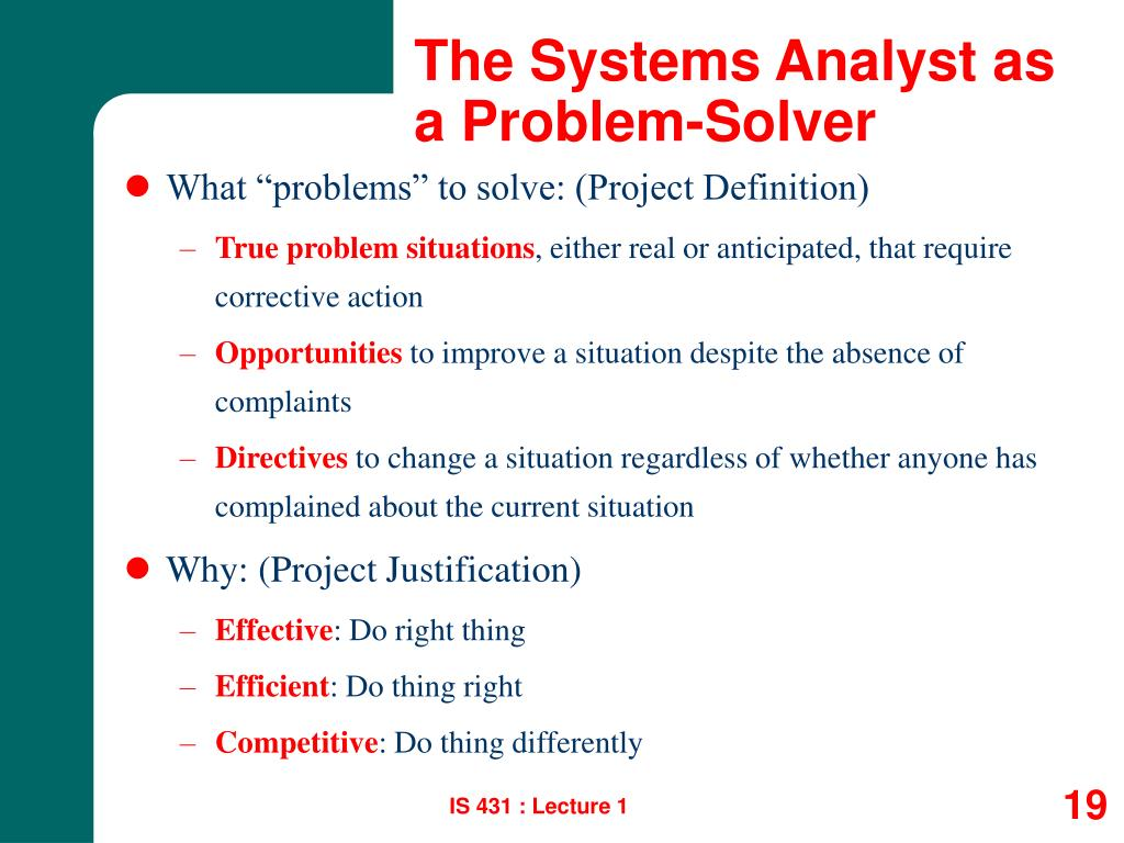 The Systems Analyst as a Problem-Solver