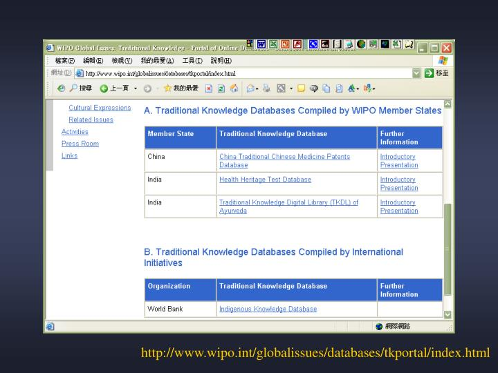 http://www.wipo.int/globalissues/databases/tkportal/index.html