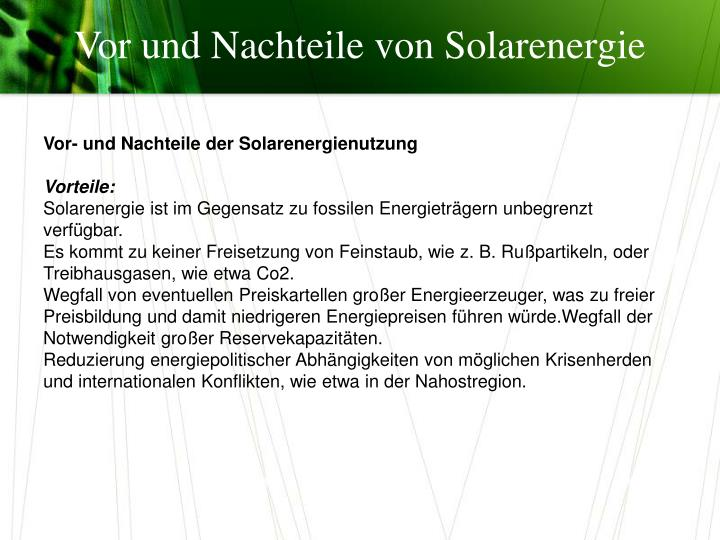 Vorteile Solarenergie ppt - alternative energiequellen powerpoint presentation - id:891276