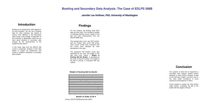 Bowling and Secondary Data Analysis: The Case of EDLPS 598B