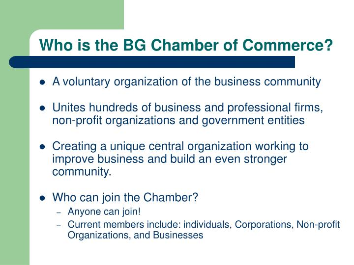 Who is the bg chamber of commerce