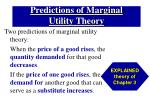 predictions of marginal utility theory