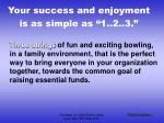 your success and enjoyment is as simple as 1 2 3