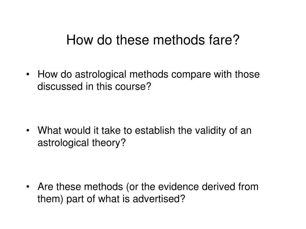 How do these methods fare?