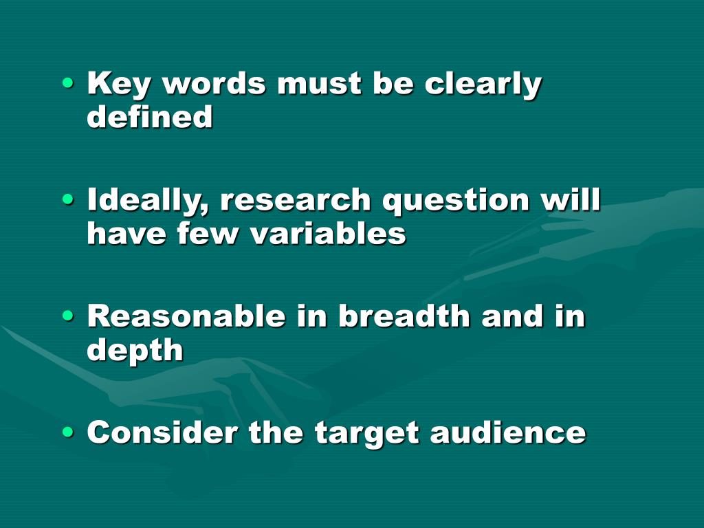 Key words must be clearly defined