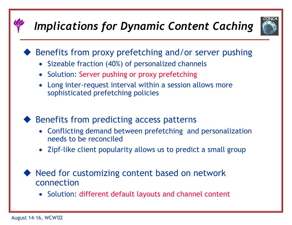Implications for Dynamic Content Caching