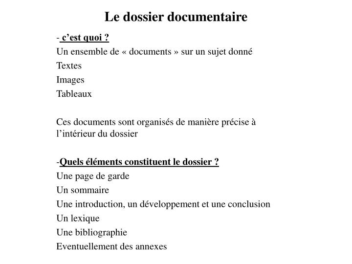 Ppt Le Dossier Documentaire Powerpoint Presentation Free