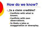 how do we know