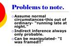 problems to note