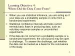 learning objective 4 where did the data come from