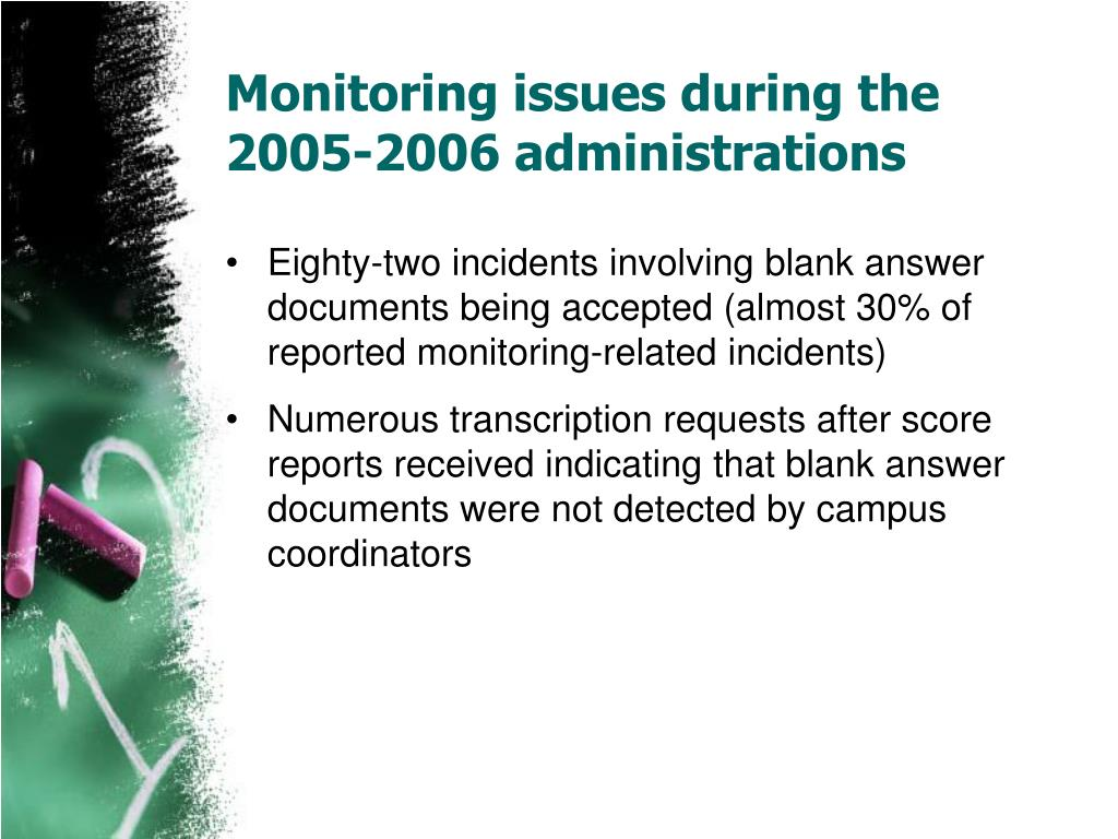 Monitoring issues during the 2005-2006 administrations