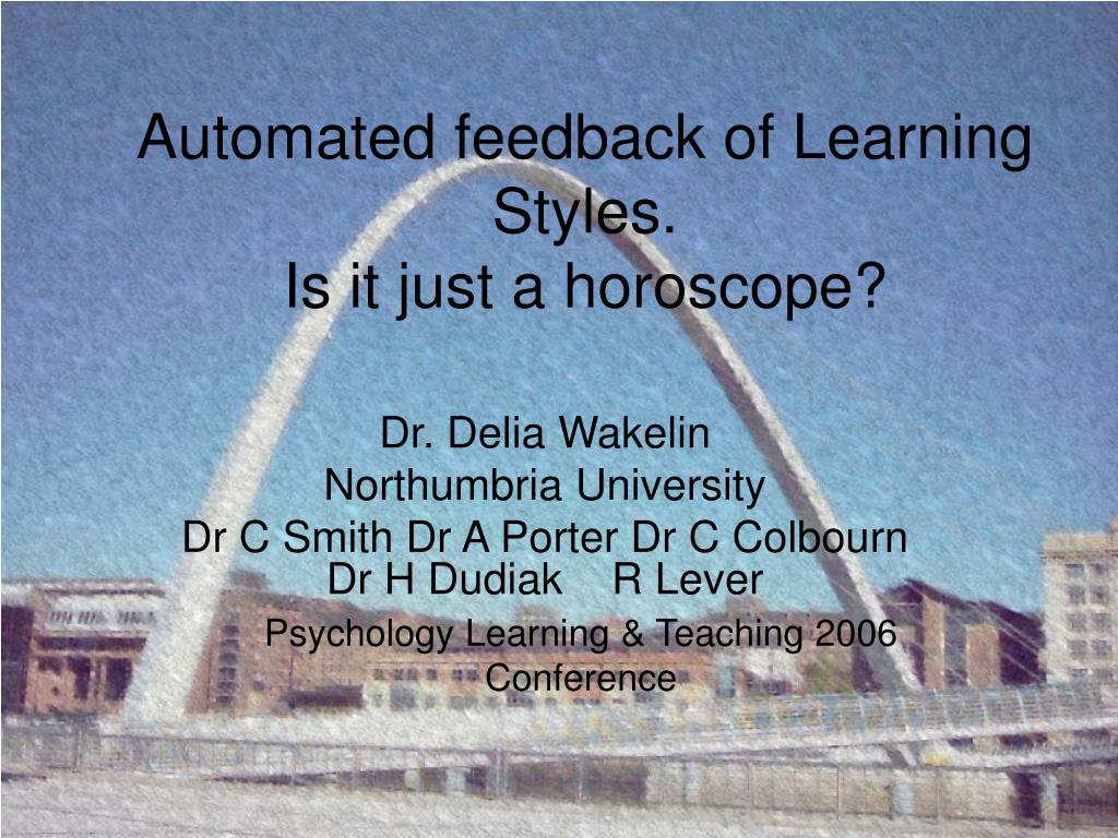 automated feedback of learning styles is it just a horoscope l.