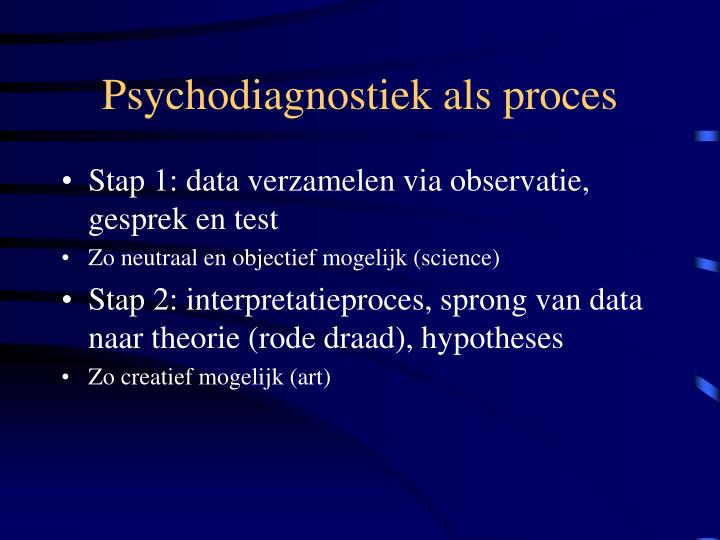 Psychodiagnostiek als proces