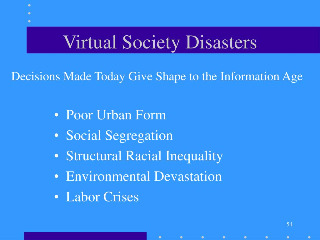 Virtual Society Disasters