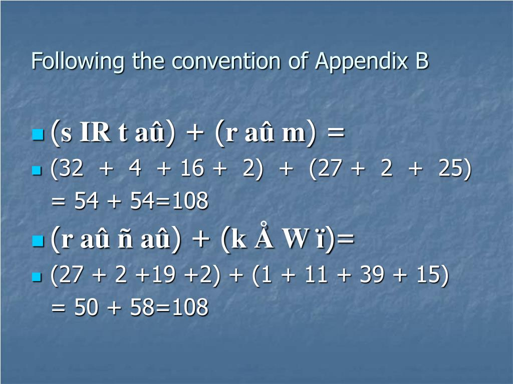 Following the convention of Appendix B