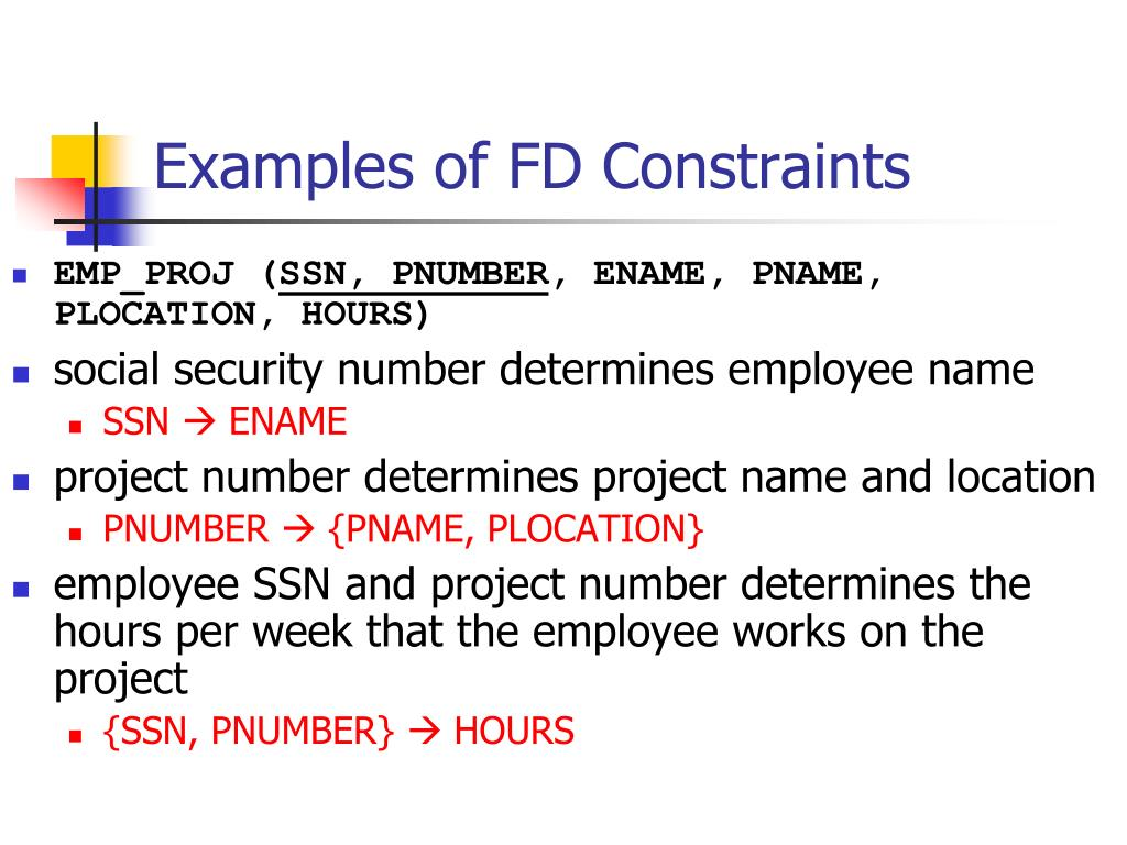 Examples of FD Constraints
