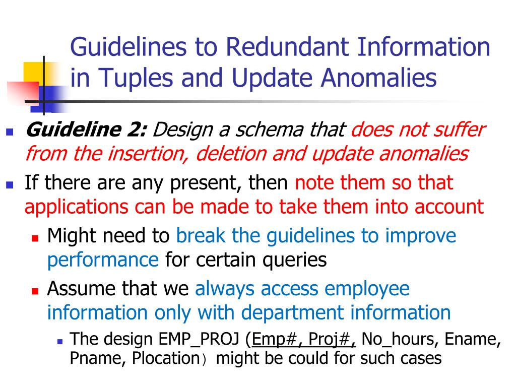Guidelines to Redundant Information in Tuples and Update Anomalies