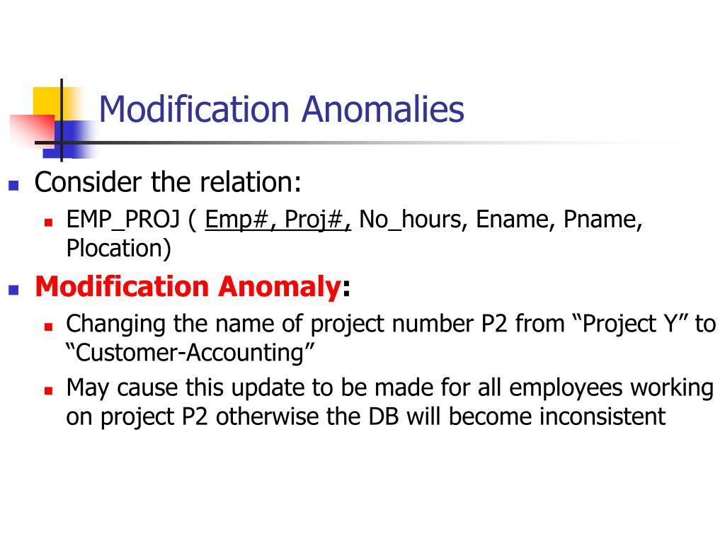 Modification Anomalies